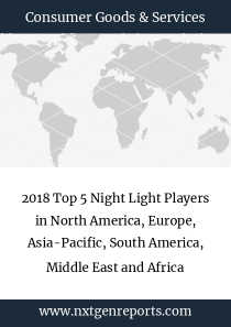 2018 Top 5 Night Light Players in North America, Europe, Asia-Pacific, South America, Middle East and Africa