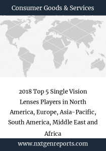 2018 Top 5 Single Vision Lenses Players in North America, Europe, Asia-Pacific, South America, Middle East and Africa