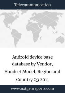 Android device base database by Vendor, Handset Model, Region and Country Q3 2011
