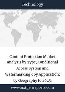 Content Protection Market Analysis by Type, Conditional Access System and Watermarking); by Application; by Geography to 2025.
