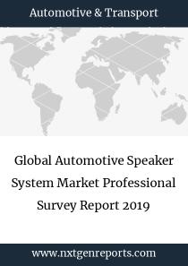 Global Automotive Speaker System Market Professional Survey Report 2019