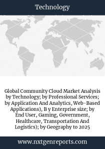 Global Community Cloud Market Analysis by Technology; by Professional Services; by Application And Analytics, Web-Based Applications), B y Enterprise size; by End User, Gaming, Government, Healthcare, Transportation And Logistics); by Geography to 2025