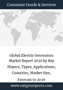 Global Electric Generators Market Report 2020 by Key Players, Types, Applications, Countries, Market Size, Forecast to 2026