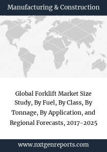 Global Forklift Market Size Study, By Fuel, By Class, By Tonnage, By Application, and Regional Forecasts, 2017-2025