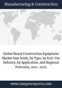 Global Heavy Construction Equipment Market Size Study, by Type, by End-Use Industry, by Application, and Regional Forecasts, 2017-2025