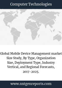 Global Mobile Device Management market Size Study, By Type, Organization Size, Deployment Type, Industry Vertical, and Regional Forecasts, 2017-2025.