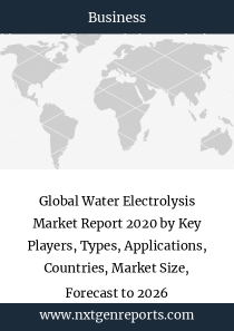Global Water Electrolysis Market Report 2020 by Key Players, Types, Applications, Countries, Market Size, Forecast to 2026