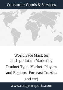 World Face Mask for anti-pollution Market by Product Type, Market, Players and Regions-Forecast To 2021 and etc)